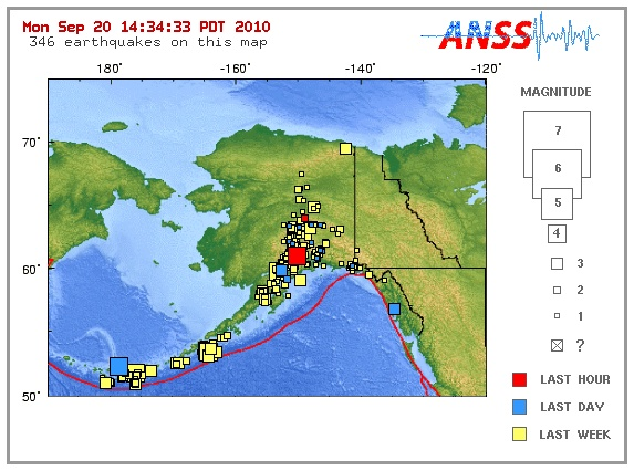 Earthquake in Alaska, September 20, 2010 - Near Anchorage, Wasilla