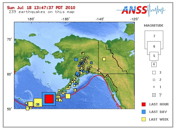 Earthquakes pounding the Aleutian Islands in Alaska
