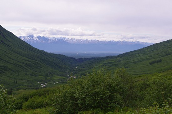 Looking back at the Wasilla Mat-Su valley from Hatcher Pass, Alaska