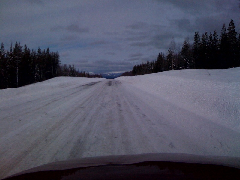 The packed snow on the road from Stewart to Dease Lake, British Columbia