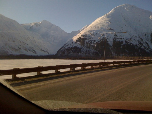 Mountains, snow and ice in Portage, Alaska
