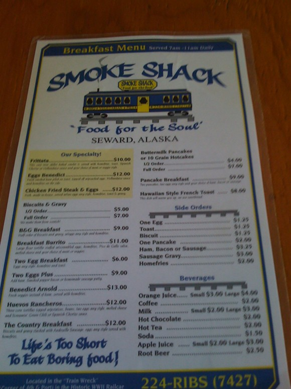 Seward, Alaska best restaurant - Smoke Shack breakfast menu