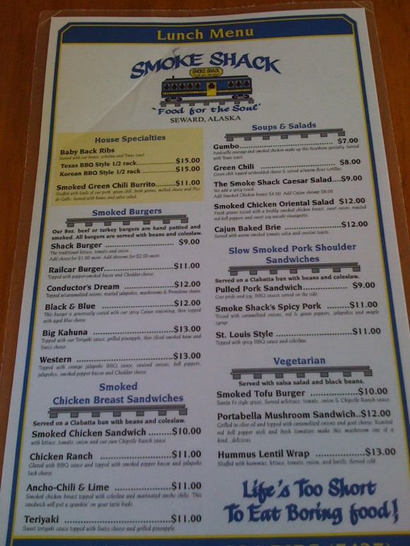 Best restaurant in Seward, Alaska - Smoke Shack lunch menu
