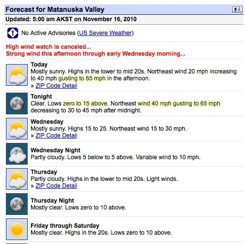 Wasilla, Alaska weather, November 16, 2010, cold and windy