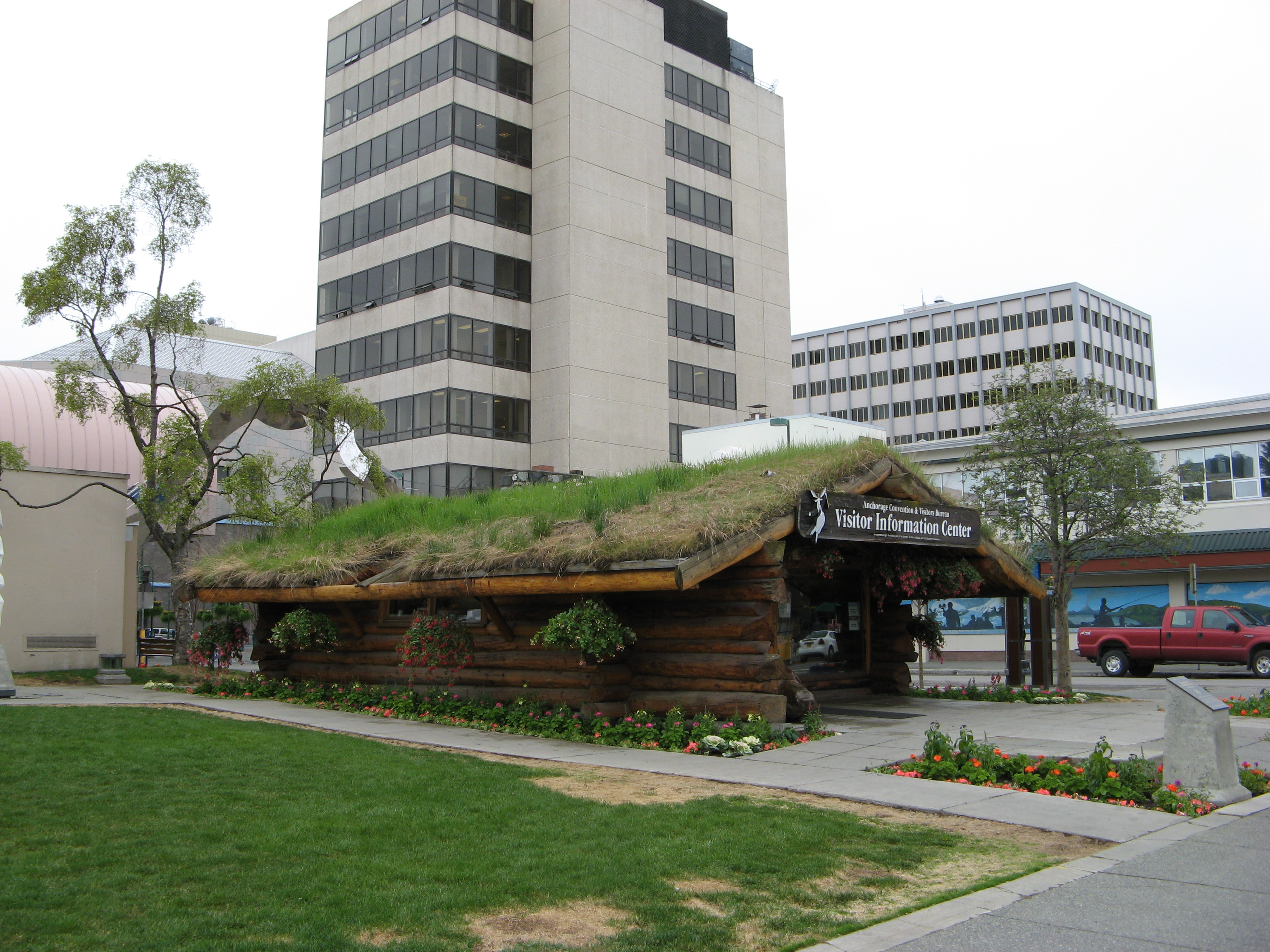 Anchorage, Alaska visitor's information center (grass roof).