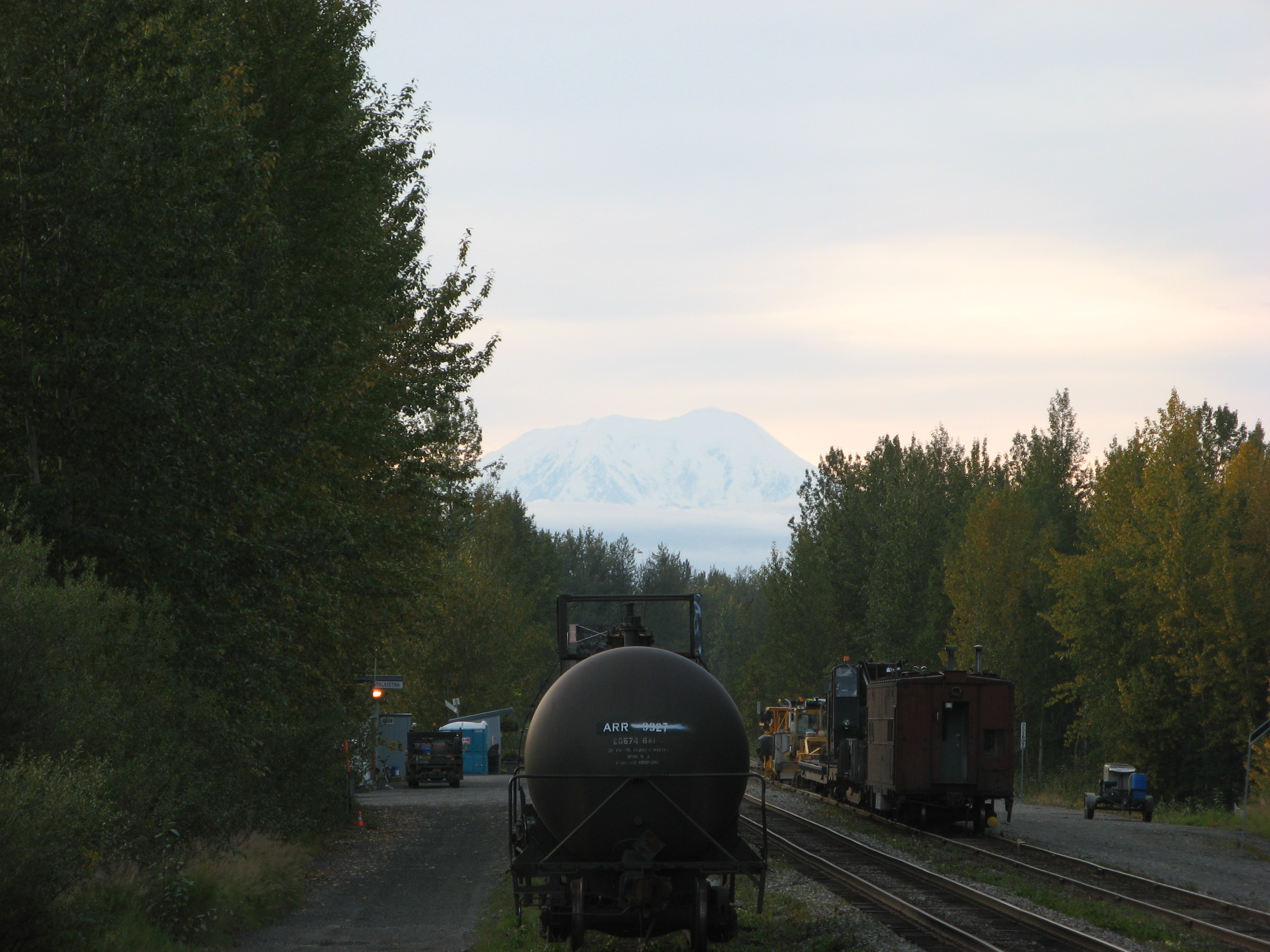 Denali mountain peak from Talkeetna railroad tracks.