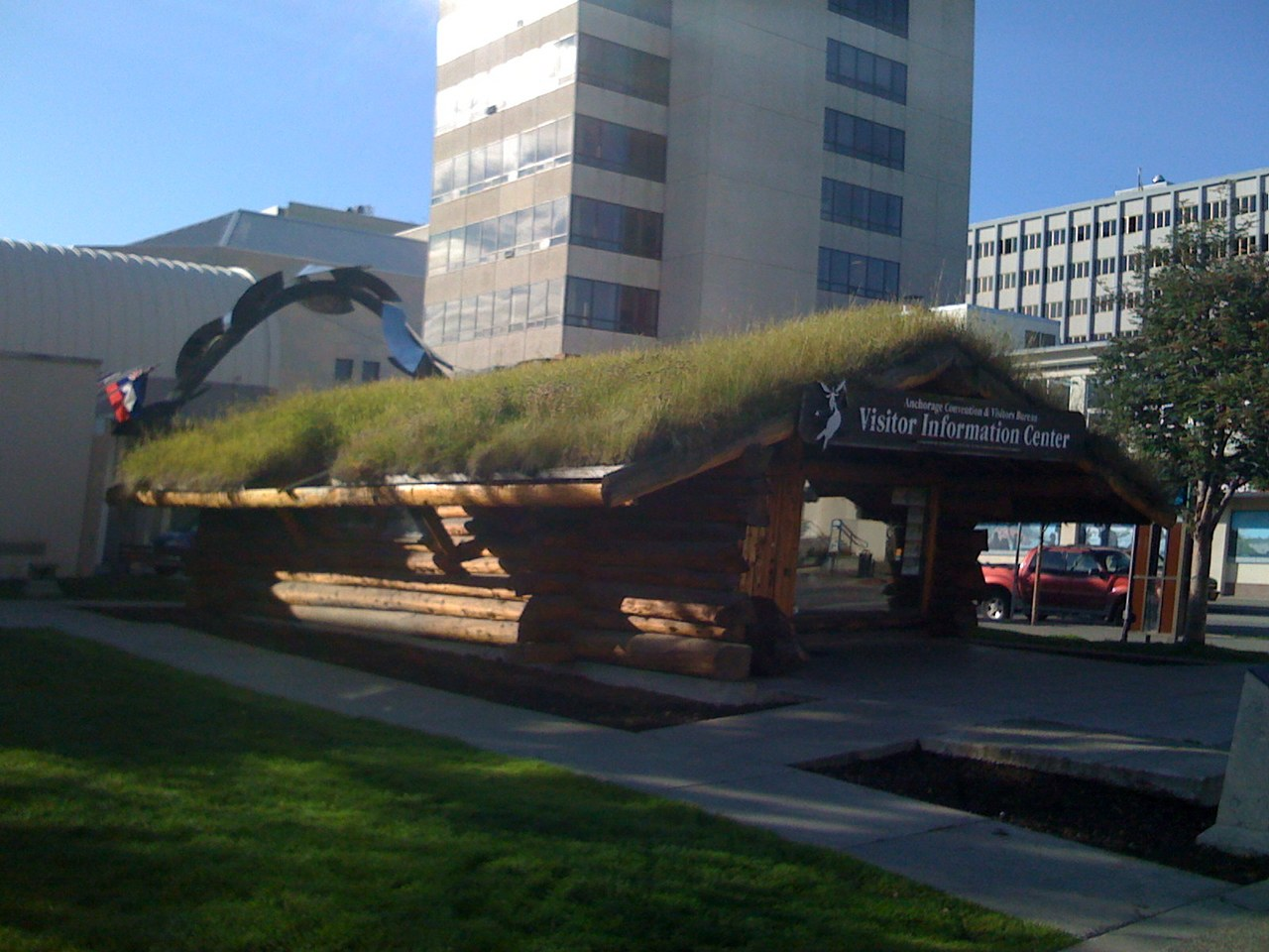 Grass roof on the Anchorage Visitor's Center.