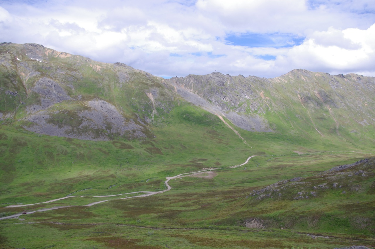 Hatcher Pass, looking down at the road and valley below