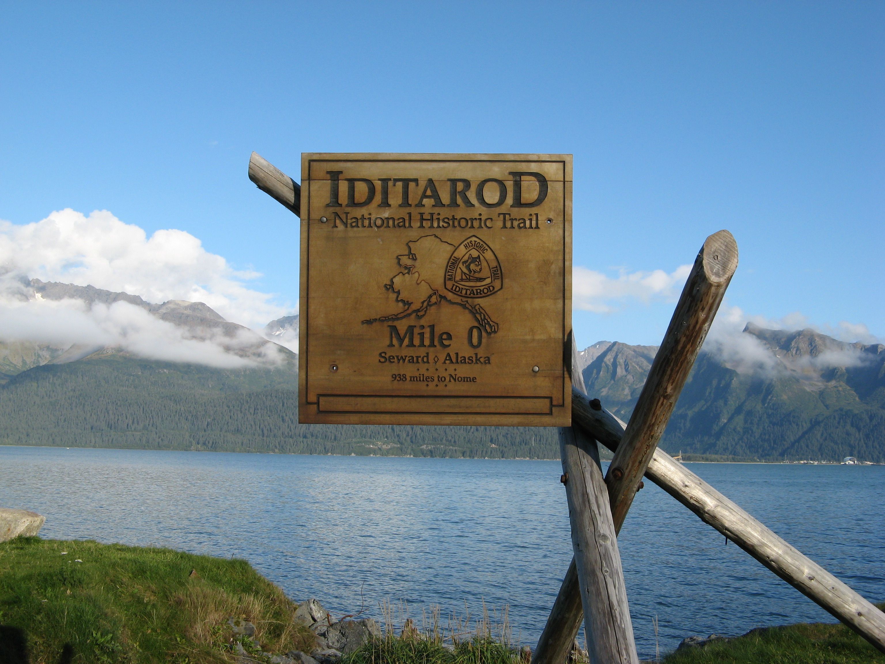 Iditarod Trail sign in Seward, Alaska.