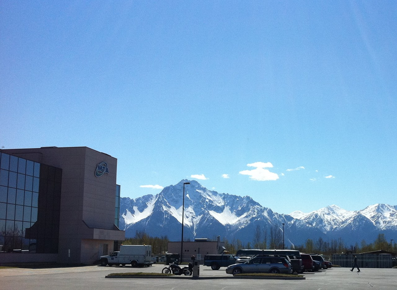 The MTA building in Palmer, Alaska (mountain backdrop).