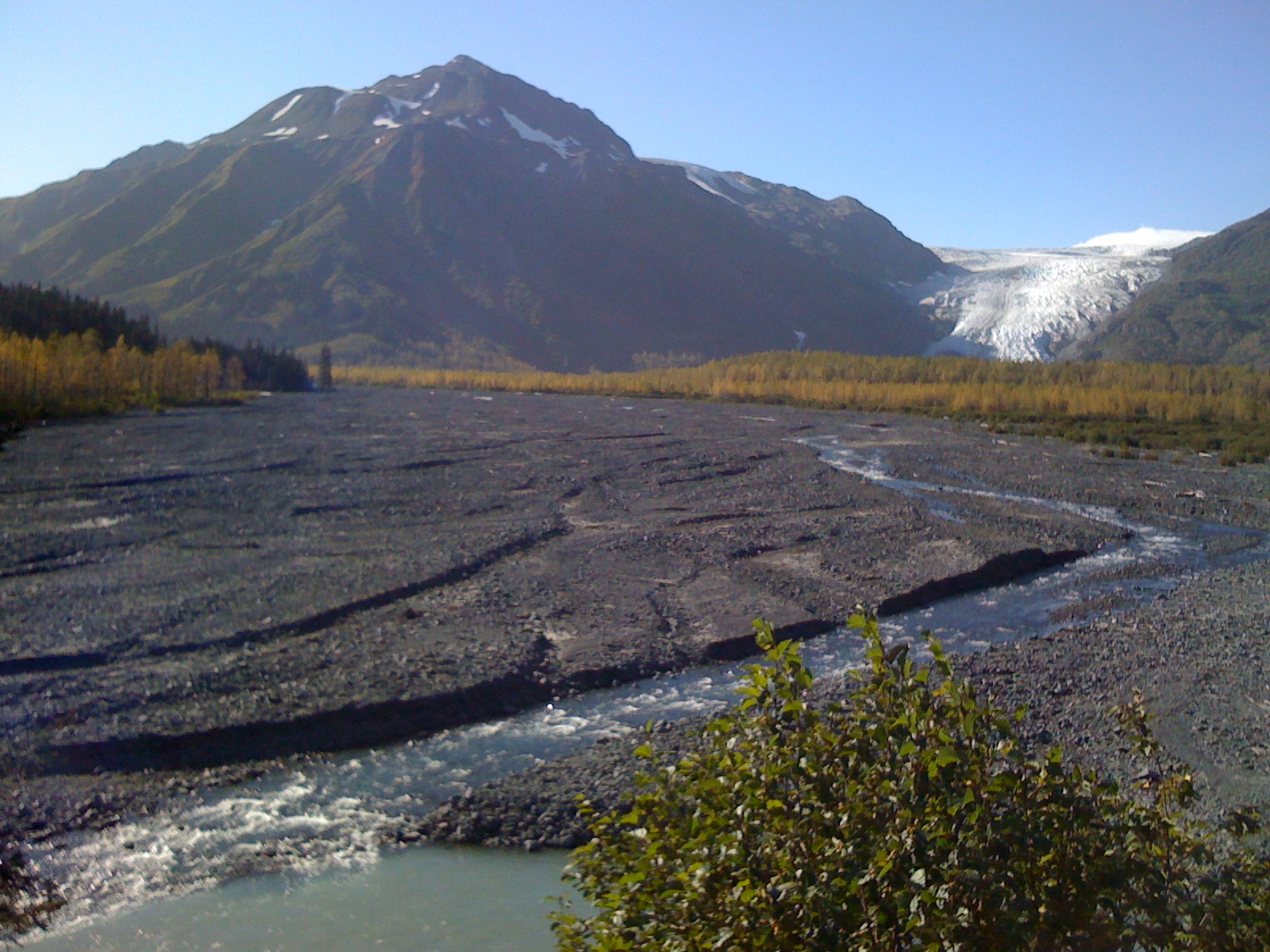 A green river coming from Exit Glacier in Seward, Alaska.