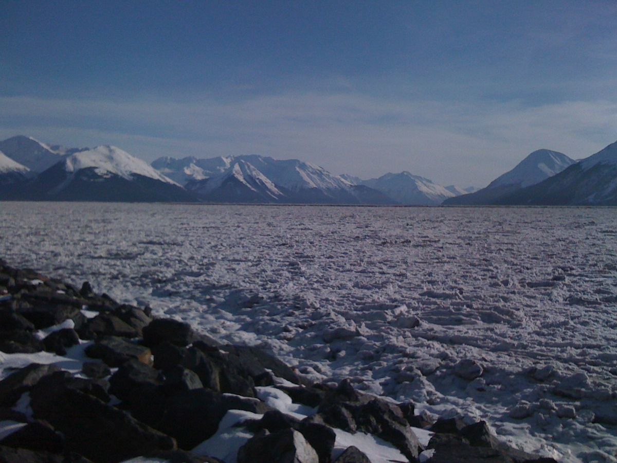 Ice in Turnagain Arm, Seward Highway, Alaska.