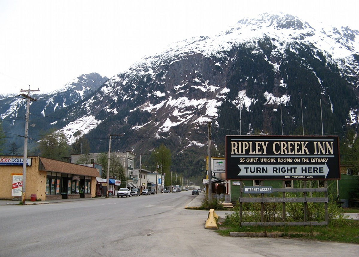 A view of the downtown Stewart, British Columbia area, including the Ripley Cree.