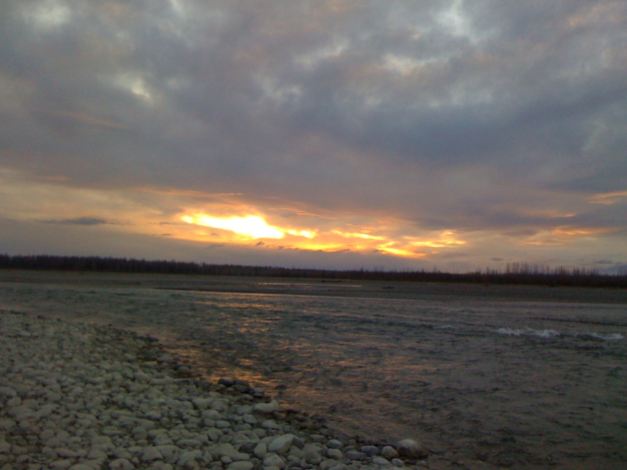 Sunset at the Talkeetna rivers, October 21, 2010.