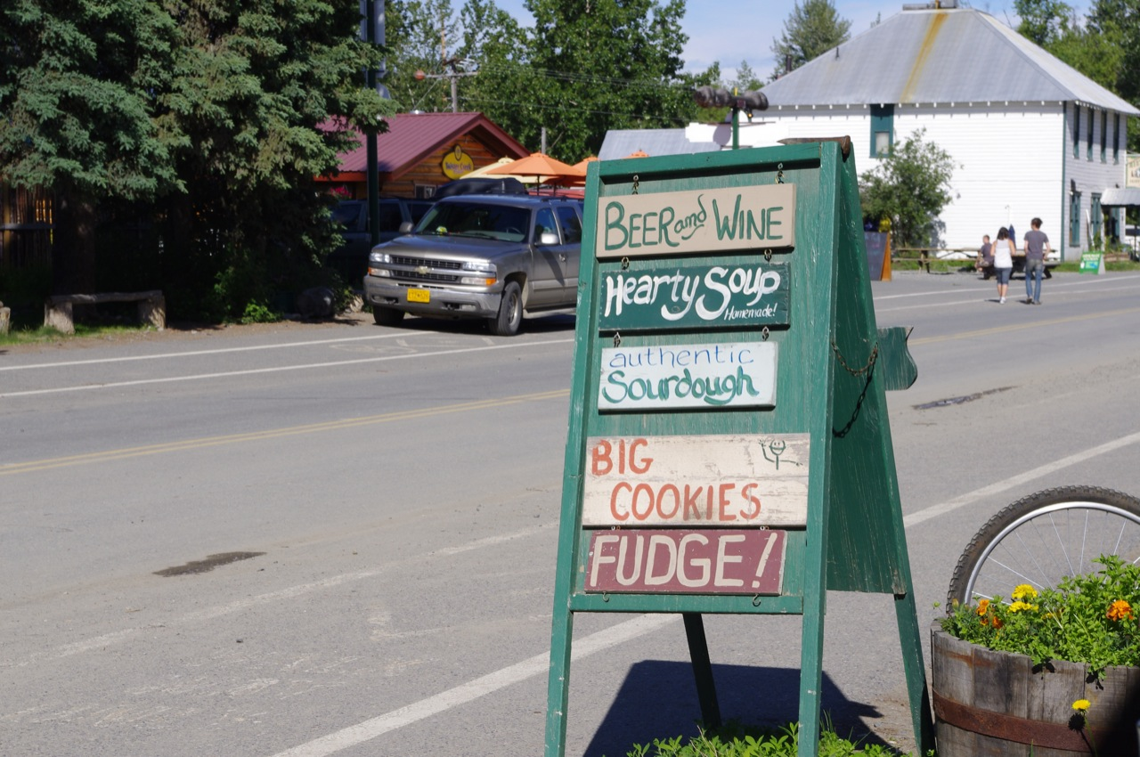 A sign for the Talkeetna Roadhouse