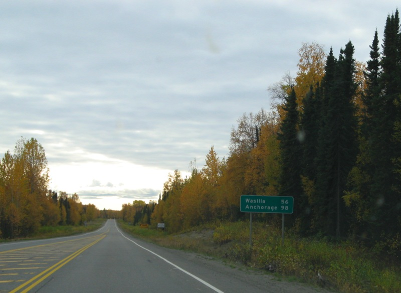 Distance from Talkeetna to Wasilla and Anchorage.