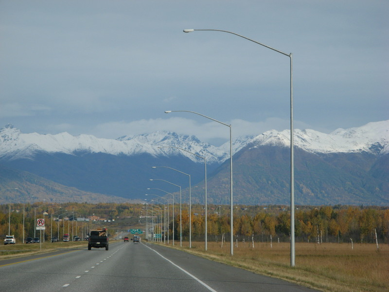 Tall light poles south of Wasilla.