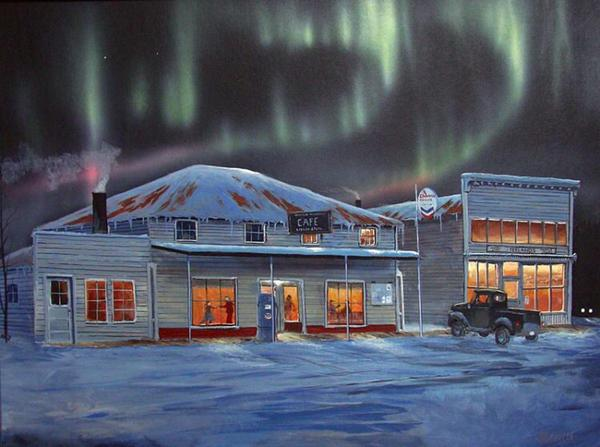 A painting of a roadhouse in Wasilla, Alaska, 1957.