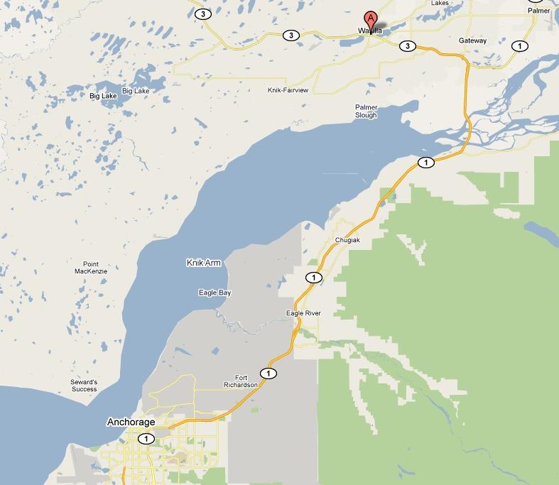 map showing wasilla palmer and anchorage alaska
