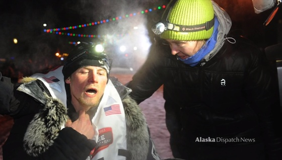 Dallas Seavey at the end of the 2014 Iditarod race