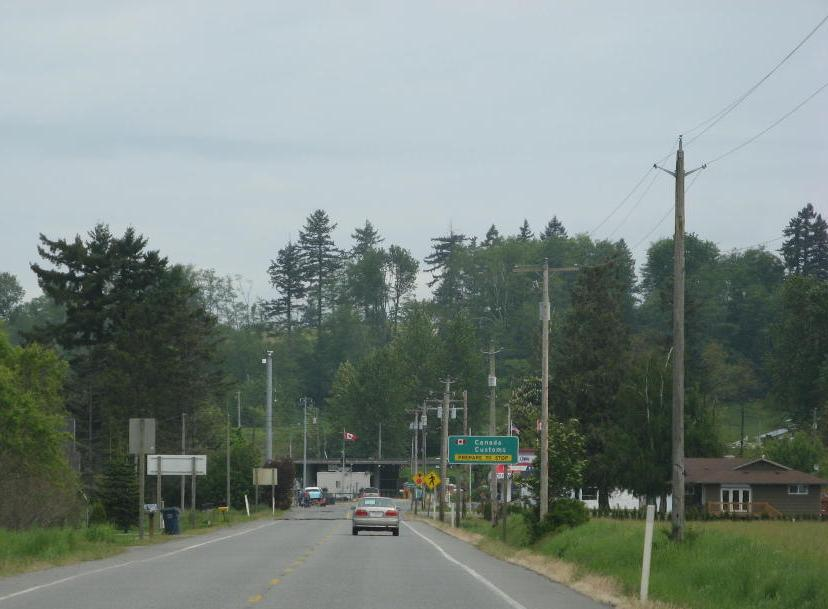 Approaching the Canadian border