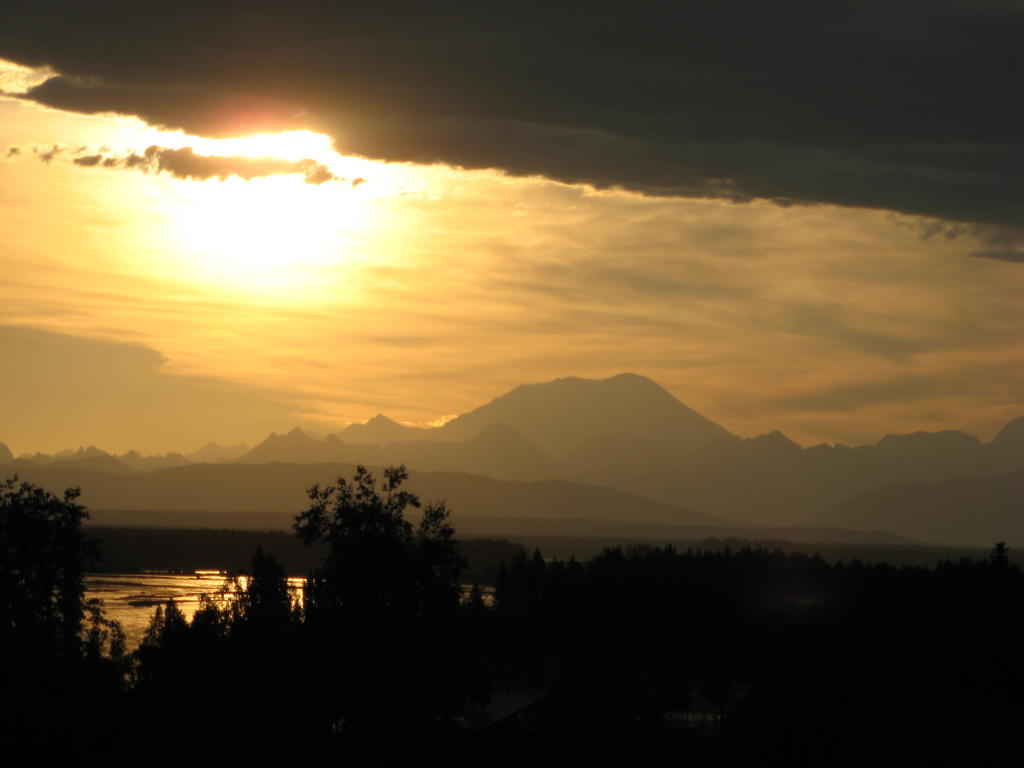 A view of the Denali range from Talkeetna, the night before the smoke and fire