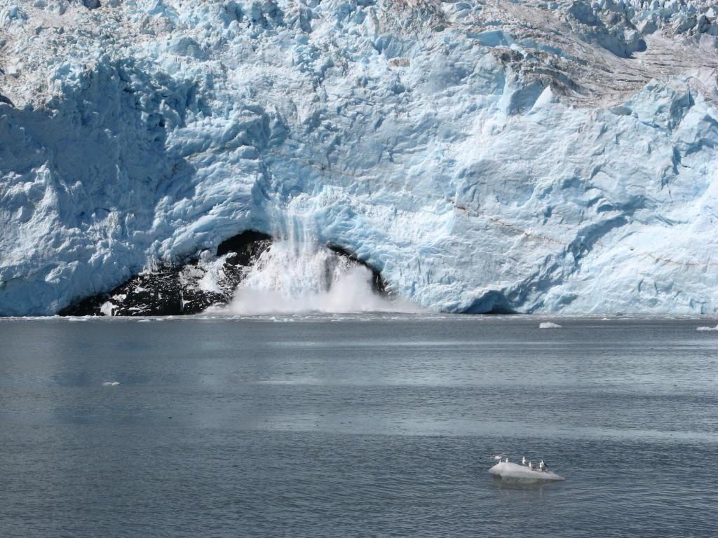 A glacier calving