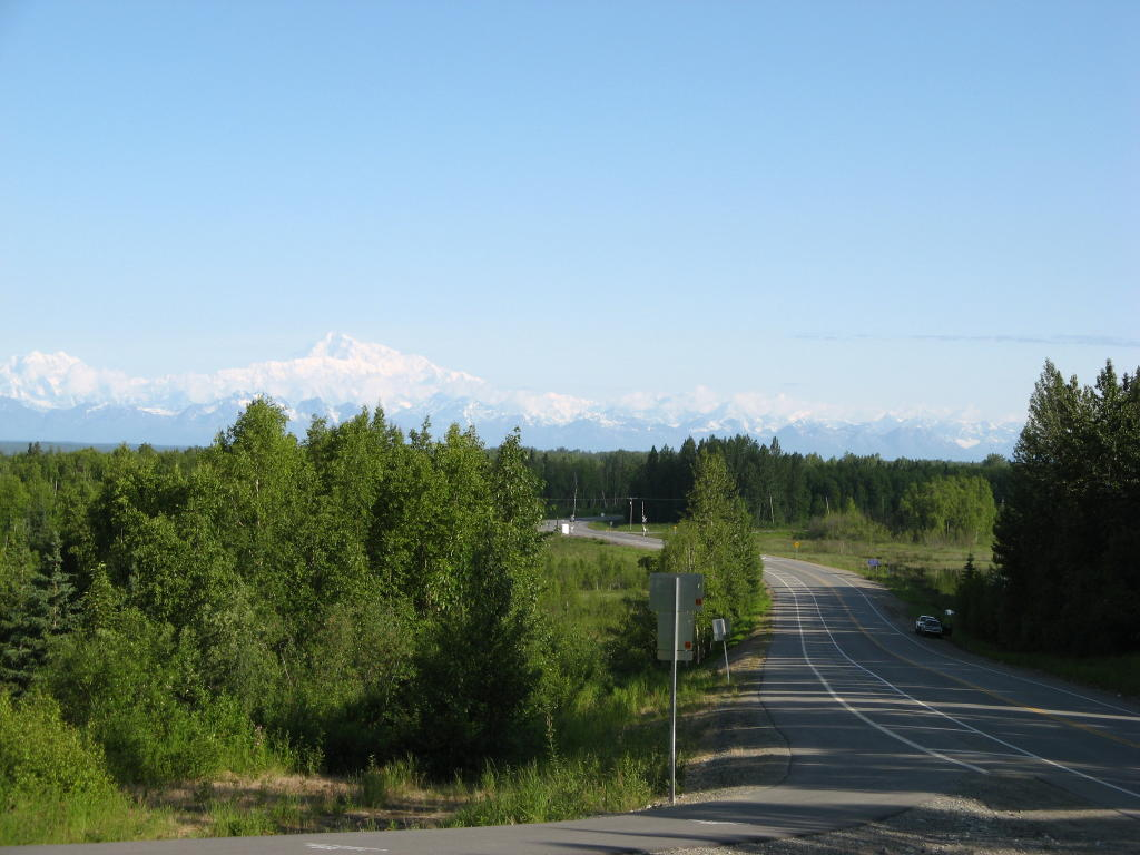 The top of the hill, on the Talkeetna Spur road, looking into town
