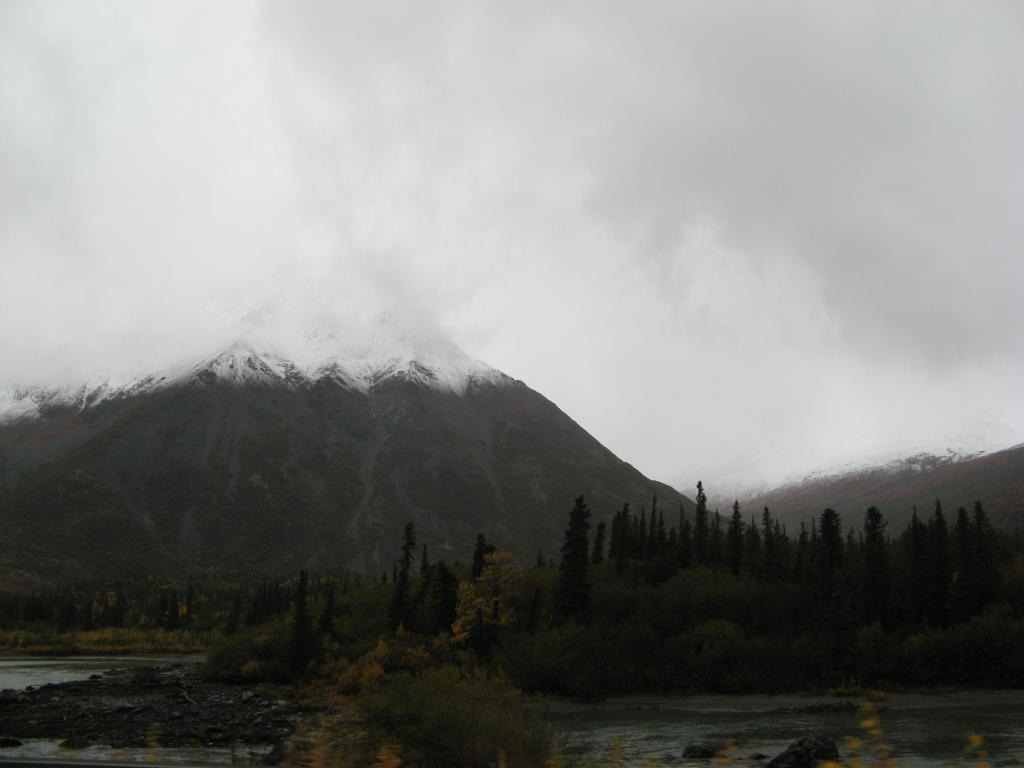 All the mountains in Denali now have a little snow.