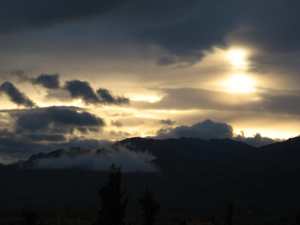 Sunrise over Otto Lake in Healy, Alaska.