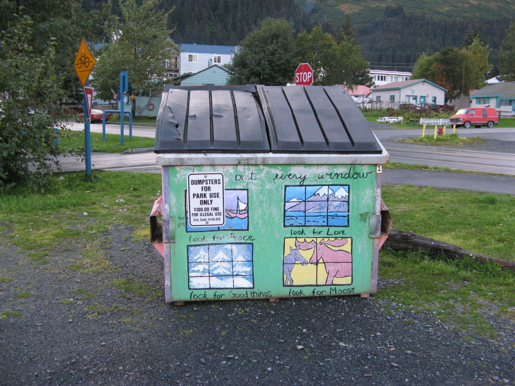 Philosophical garbage dumpster in Seward, Alaska