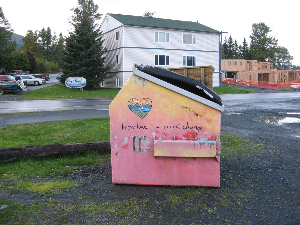Philosophical garbage dumpster in Seward, Alaska, picture #2