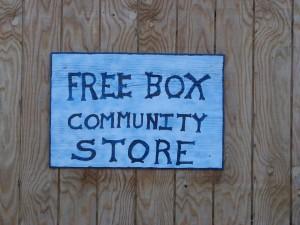 Free Box Community Store sign