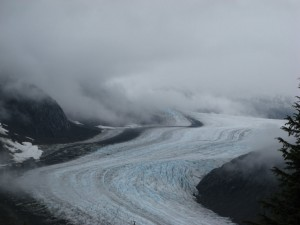 Zoomed-in view of a glacier in Hyder, Alaska