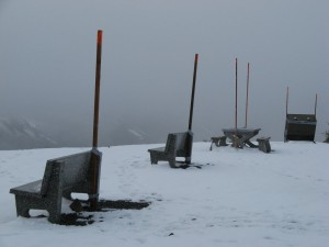 Benches at the top of the road, Hyder, Alaska