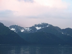 View of the mountain range across Resurrection Bay in Seward