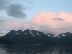Closer view of the mountain range in Seward