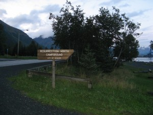 Seward campground welcome sign