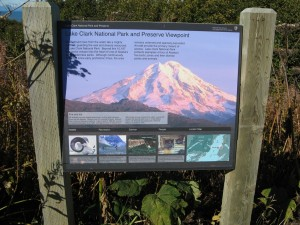 A sign about Mt. Redoubt as a volcano